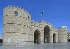 Makkah Gate in Jeddah city. Makkah Gate in Jeddah old city, Saudi Arabia with Saudi Flag Royalty Free Stock Photography