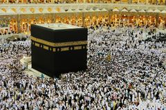 Makkah Kaaba Hajj Muslims. Islamic Holy Place Kaaba mosque indoors pillars Royalty Free Stock Photography