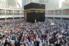 Makkah Kaaba Hajj Muslims. MECCA, SAUDI ARABIA - FEBRUARY 2: Muslim pilgrims, from all around the World, revolving around the Kaaba on February 2, 2015 in Mecca Stock Photo