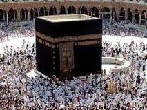 Makkah Kaaba Hajjmuselmaner Arkivfoto