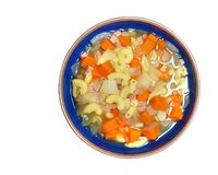 Makkaroni u. kleine Schinkensuppe mit der Karotte u. Zwiebel lokalisiert auf weißem b stockbilder