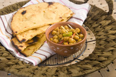 Makki Ki Roti with Channa Stock Photo