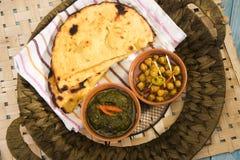 Makki Ki Roti z Channa zdjęcia stock