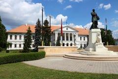 Mako, Hungary. Town in Csongrad county. Town Hall and Kossuth monument (Hungarian national hero Stock Photography