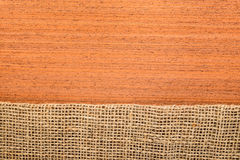 Makore texture with hessian Royalty Free Stock Photos