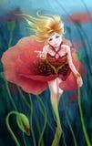 Makowa kwiat dziewczyna Obrazy Stock
