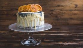 Makowego ziarna tort z Białą czekoladą i Karmelizującą pomarańcze Zdjęcia Stock