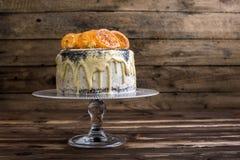 Makowego ziarna tort z Białą czekoladą i Karmelizującą pomarańcze Obraz Royalty Free