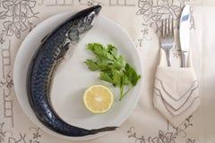 Makreel met Citroen en Peterselie stock afbeelding