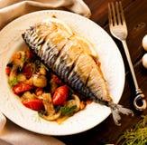 Makreel met groenten Royalty-vrije Stock Fotografie