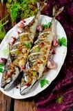 Makrela piec z czerwonymi rodzynkami, zbożowa musztarda zdjęcie stock