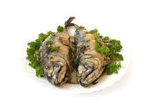 Makrele angefüllt mit Kräutern Stockfoto
