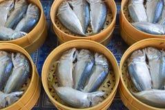 Makrillfisk i korgen Arkivfoto