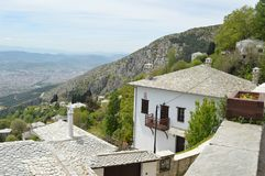 Makrinitsa村庄 希腊 库存照片