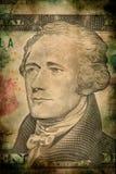 Makro- Alexander Hamilton na dziesięć usa banknotu grunge rocznika dolarowym stylu Obraz Royalty Free