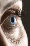 Makro auf blauem Auge lizenzfreie stockfotos