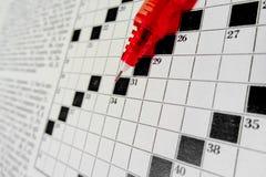 Makro auf dem Kreuzworträtsel, Schwarzweiss Lizenzfreie Stockbilder
