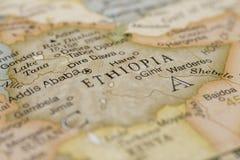 Makro av Etiopien på ett jordklot Arkivfoton