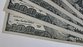 Makro av få hundra dollar sedlar