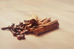 Makro av kanelbruna pinnar för kryddnejlikakrydda Royaltyfri Fotografi