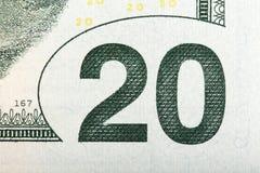Makro av värdet på en U S 20 räkning, extrem makro rr Arkivbilder