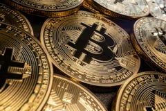 Makro Bitcoins royaltyfri fotografi