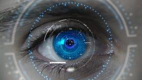 Makro blauer futuristischer HUD-Augenneonplan lizenzfreies stockfoto