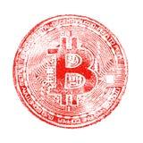 Makro- Czerwony druku bitcoin na białym odosobnionym tle Dla projekta wirtualni dokumenty na crypto walucie Kwadratowy pictur obraz stock