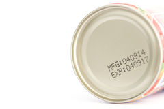 Makro- data ważności na konserwować jedzeniu zdjęcia stock