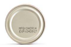 Makro- data ważności na konserwować jedzeniu fotografia royalty free
