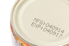 Makro- data ważności na konserwować jedzeniu obrazy royalty free