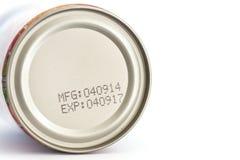 Makro- data ważności na konserwować jedzeniu zdjęcie royalty free