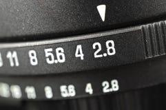 Makro der Öffnungsskala stockfotografie