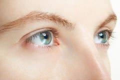 Makro der blauen Augen der Frau, Visionskonzept Stockbild