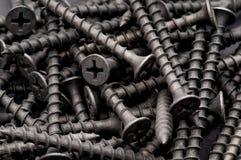 Makro der dunklen grauen Trockenmauerschrauben Lizenzfreie Stockfotografie