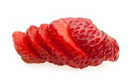 Makro der saftigen geschnittenen Erdbeere Lizenzfreie Stockbilder