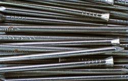 Makro der Stahldrahtnägel Stockbild
