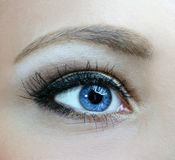 Makro des blauen Auges Stockbild