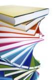 Makro des gewundenen Stapels Bücher stockfoto