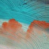 Makro des Türkises und der orange Malerei lizenzfreie stockfotos