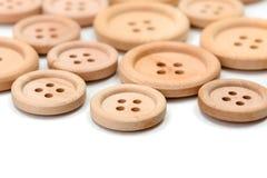 Makro- drewniani guziki Obrazy Royalty Free