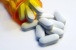 Makro eines Behälters Pillen stockbilder