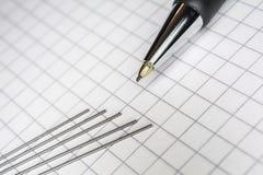 Makro eines mechanischen Bleistifts mit 5 Führungen auf Karopapier 1 Stockbild