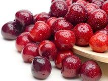 Makro en closeup av nya körsbär och söta körsbär Arkivfoton
