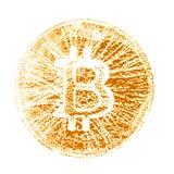 Makro En guld- stämpel av bitcoin För designen av faktiska dokument på den crypto valutan En fyrkantig bild Närbild royaltyfri fotografi