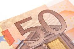 makro för euro femtio Arkivbild