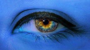 Makro för kvinnaögonnärbild med långa ögonfrans och yrkesmässigt blått smink i blått neonljus royaltyfria foton