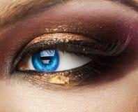 Makro- fotografia błękitny kobiety oko patrząc z z profesjonalistą m Zdjęcia Royalty Free