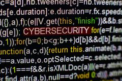 Makro- fotografia ekran komputerowy z programa źródła kodem i podkreślająca CYBERSECURITY inskrypcja w środku pismo zdjęcie stock