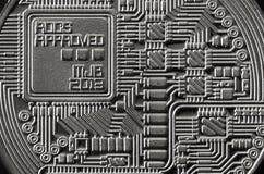 Makro- fotografia srebny bitcoin Zamyka w górę błyszczącej metal tekstury Abstrakcjonistyczny biznes i nowożytny technologii tło  Zdjęcia Stock